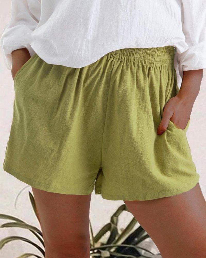 High Waist Linen Blend Shorts фото