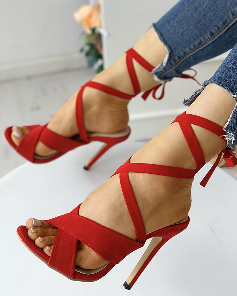 Peep Toed Bandage Lace-Up Thin Heeled Sandals