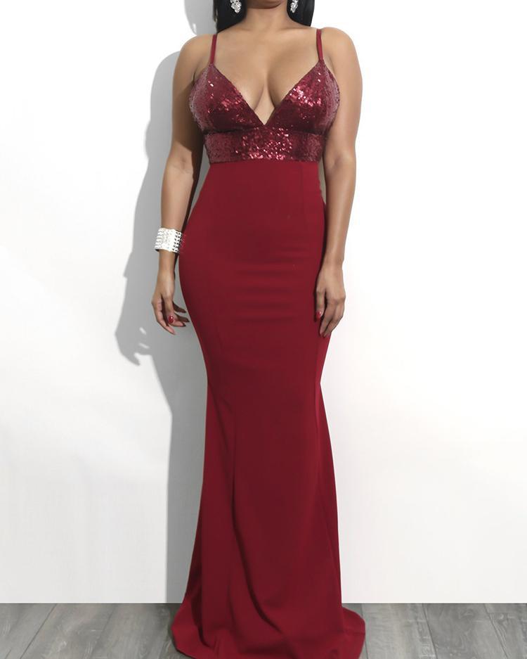 Deep V Sequined Splicing Maxi Evening Dress фото