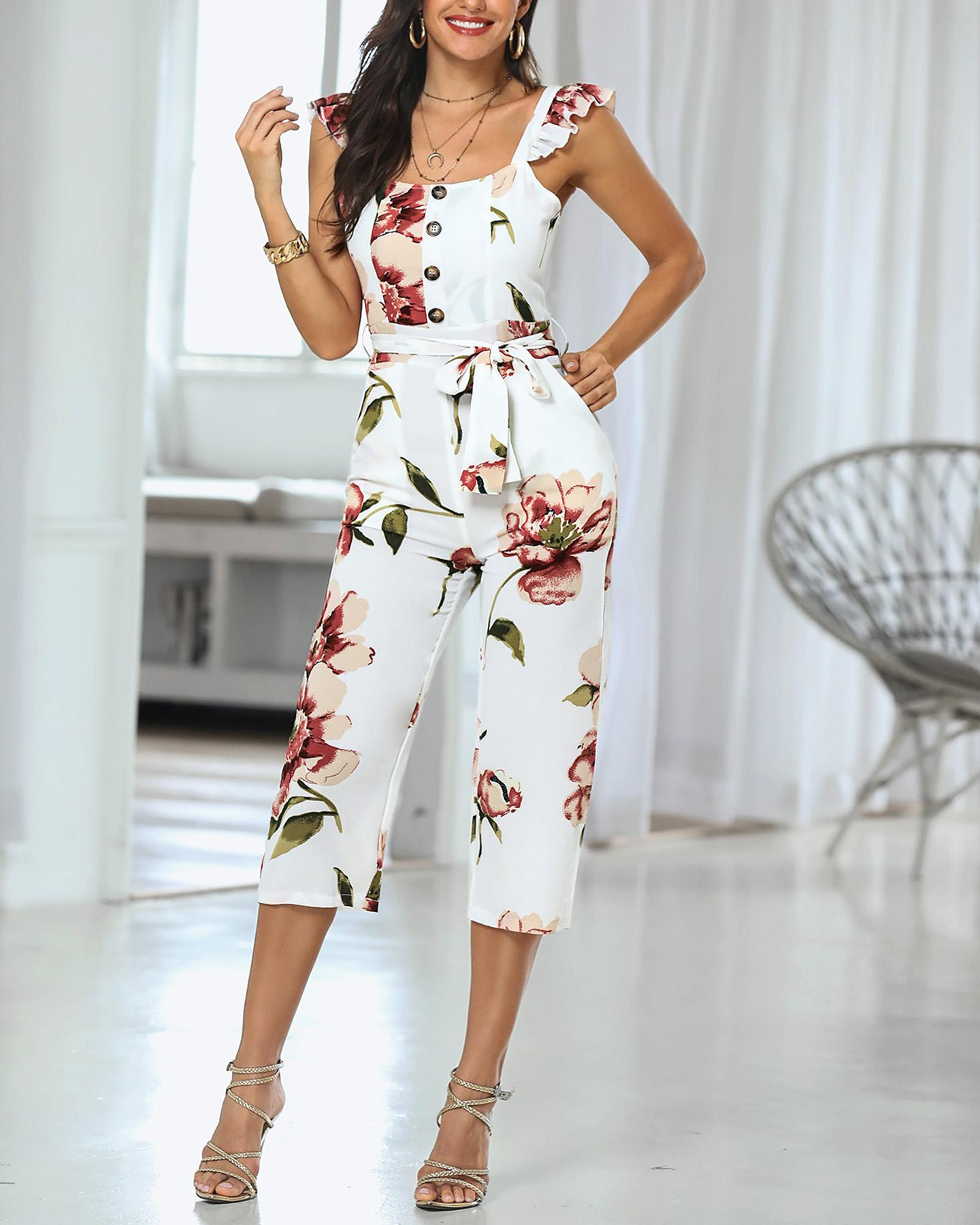 Floral Print Ruffle Buttoned Casual Jumpsuit