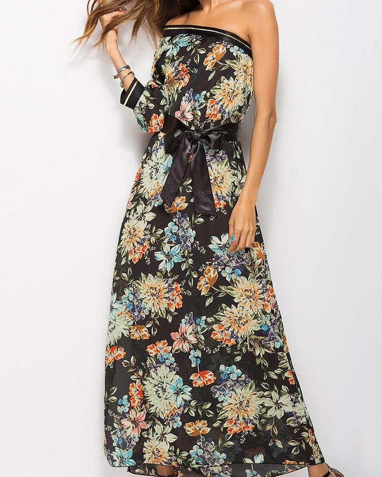 One Shoulder Belted Floral Print Maxi Dress, Black