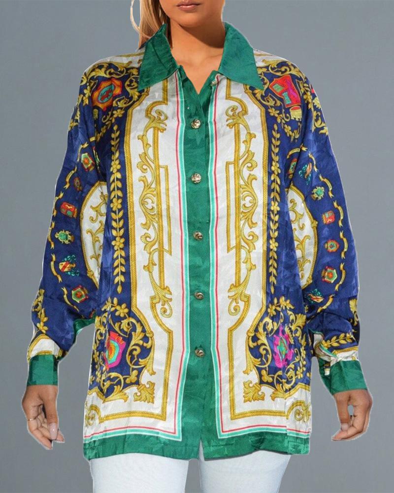 ivrose / Long Sleeve Scarf Print Shirt Dress