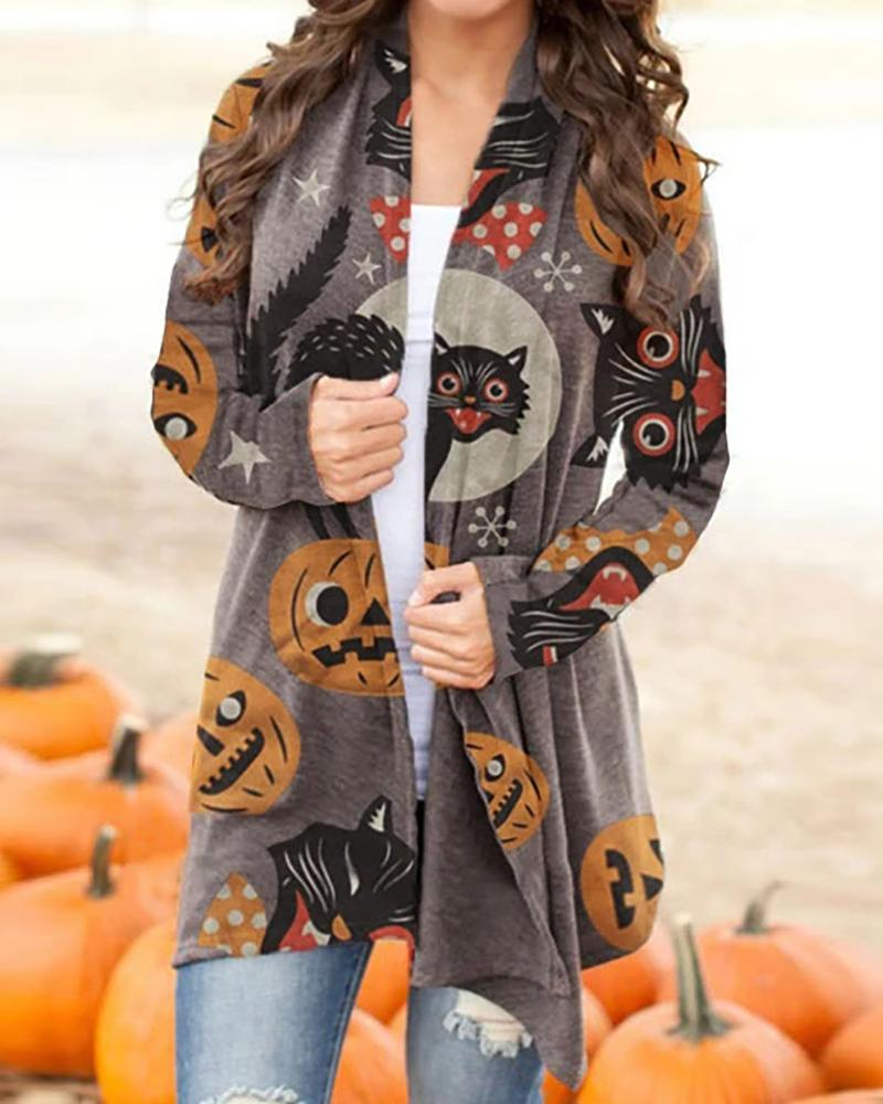 boutiquefeel / Halloween Cat Pumpkin Print Long Sleeve Cardigan