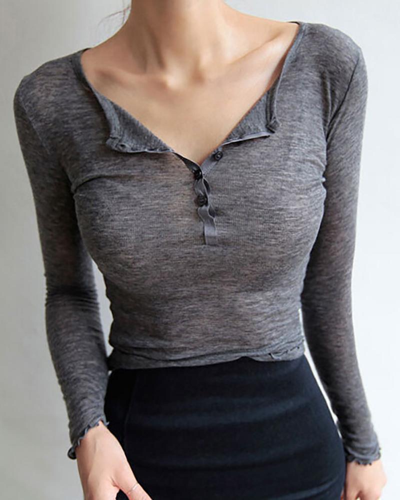 ivrose / Blusa sólida com botões de manga comprida