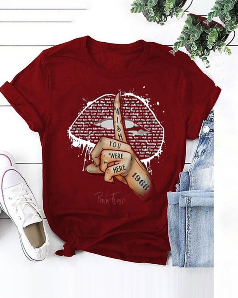 Lip/Signal Print Short Sleeve Casual T-shirt фото
