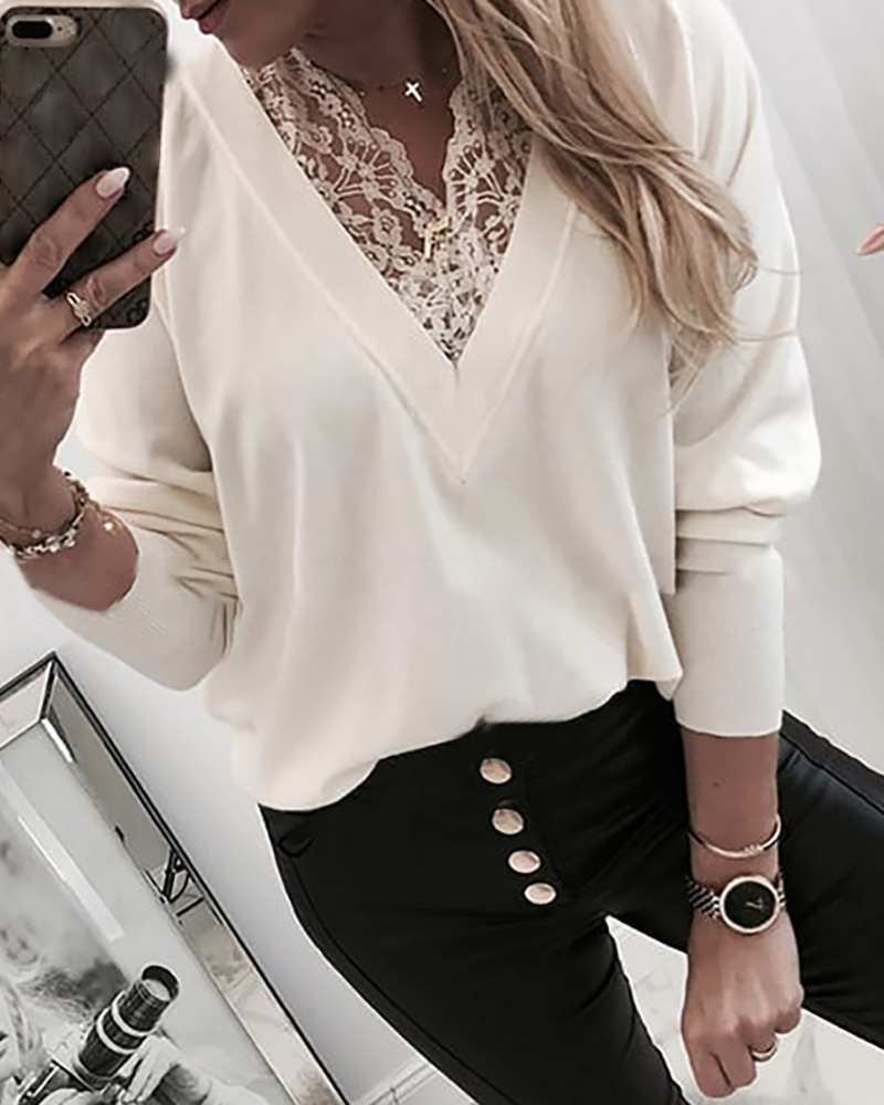 V Neck Lace Insert Long Sleeve Sweatshirt фото