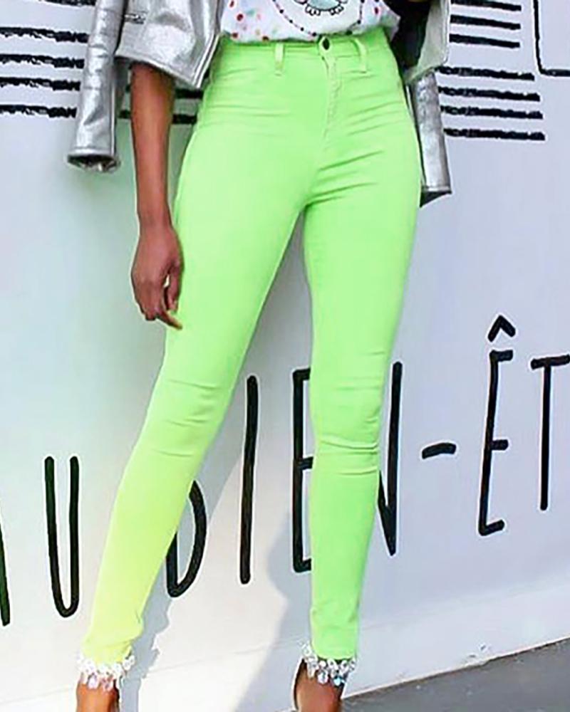 High Waist Skinny Solid Color Pants