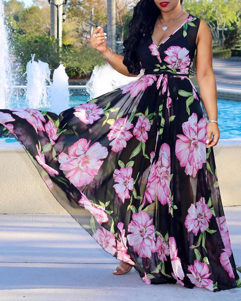 Deep V-neck Floral Printed Maxi Chiffon Dress