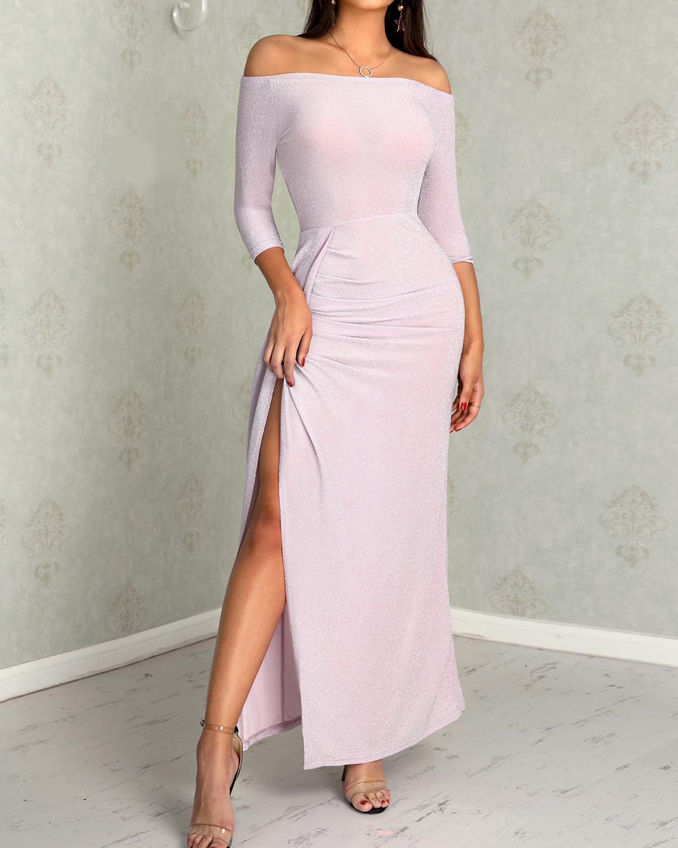 Glittering Off Shoulder Scrunch Thigh Slit Dress