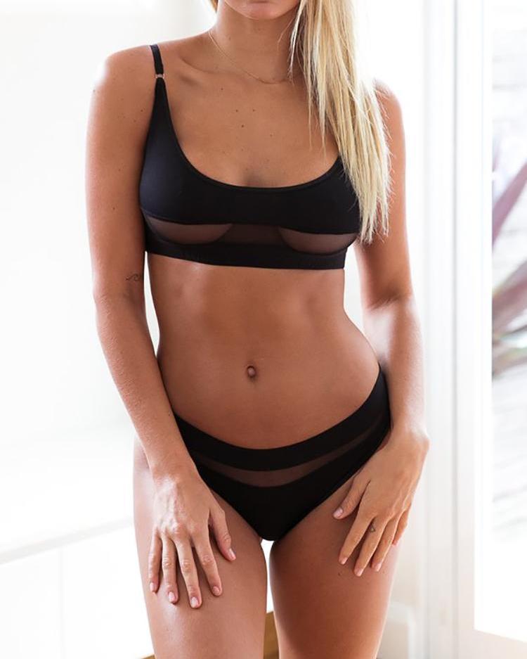 ivrose / Bikini con aplicación de malla transparente