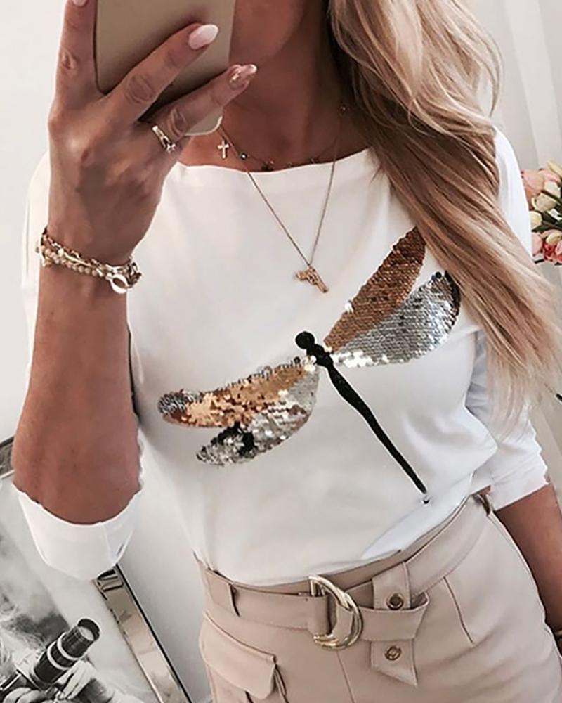 chicme / Lantejoulas padrão libélula em torno do pescoço t-shirt de manga comprida