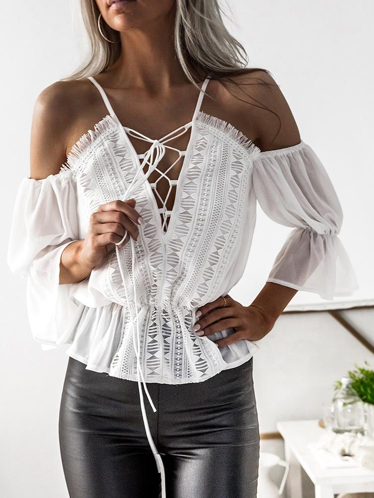 Cold Shoulder Lace-up Ruched Hem Eyelash Blouse