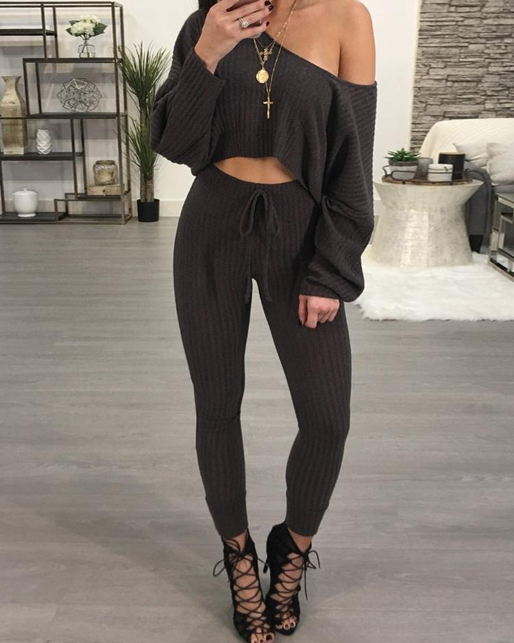 Купить со скидкой One Shoulder Ribbed Drawstring Waist Pantsuit