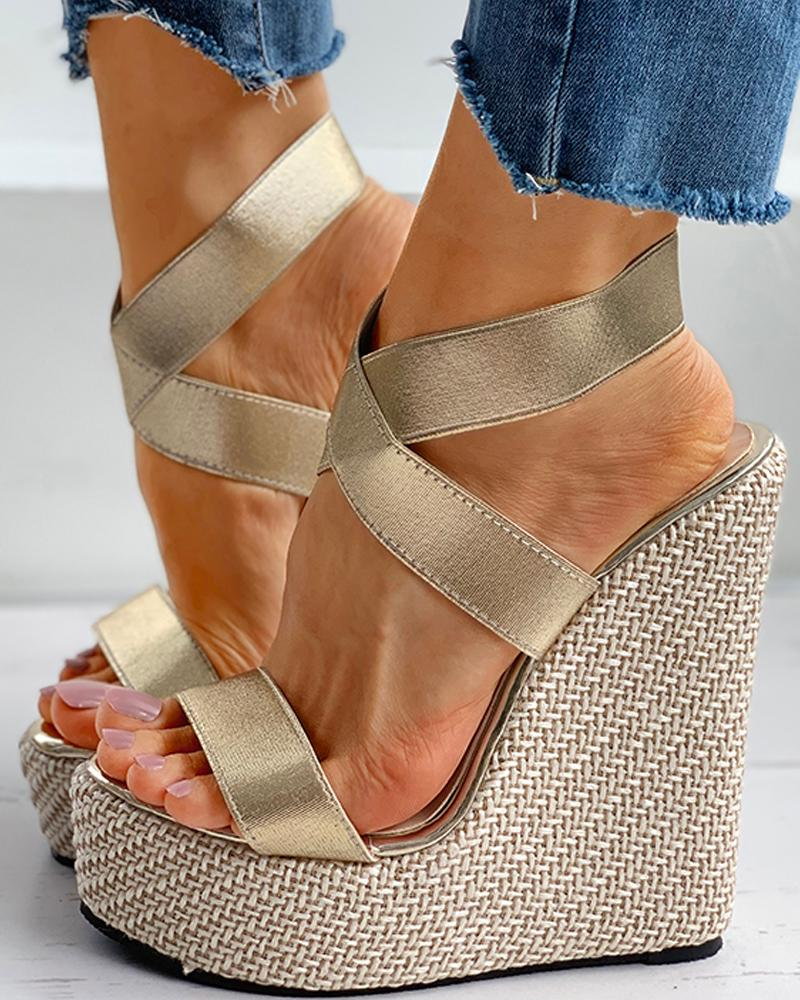 chicme / Solid Satin Peep ToeWedge Sandals