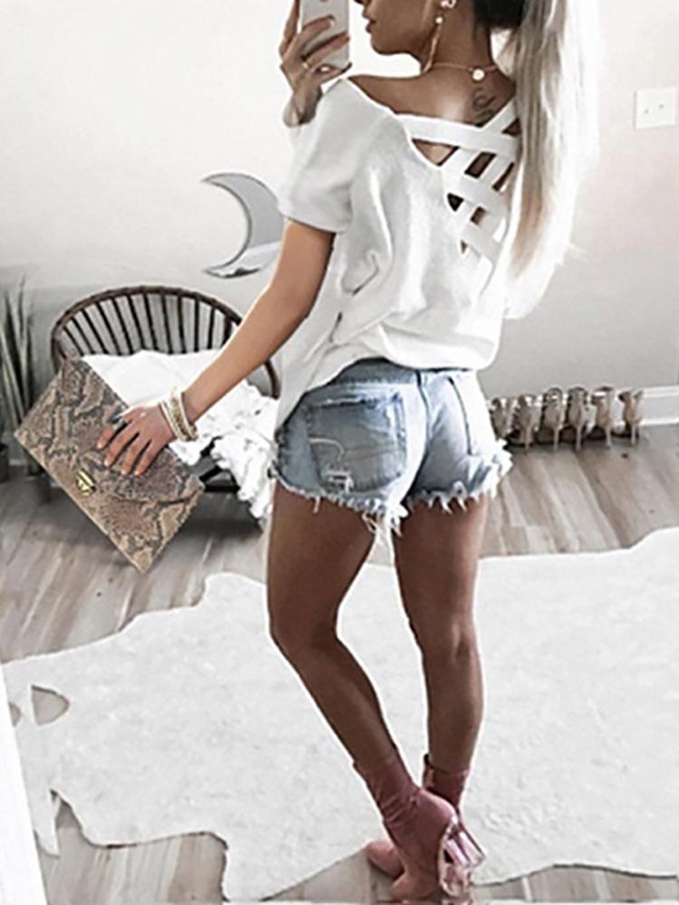 Купить со скидкой Trendy Short Sleeve Caged Back Casual T-shirt