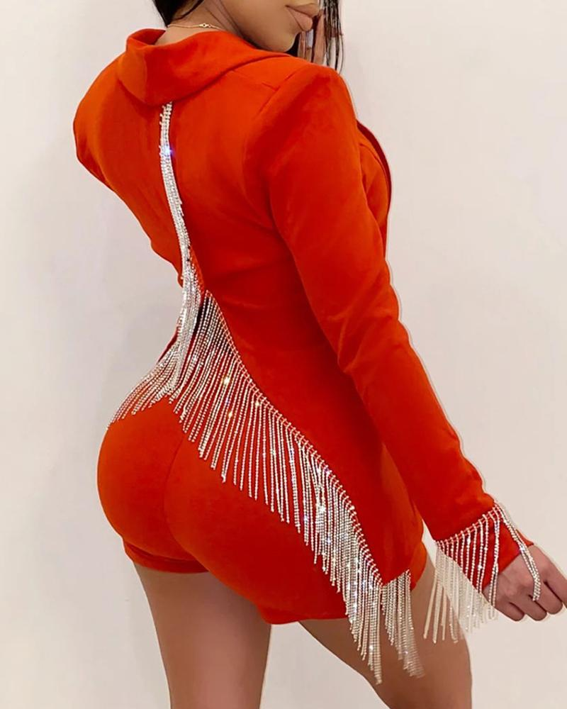 chicme / Sólido Tassel Design Blazer Casaco & Slinky Short Sets