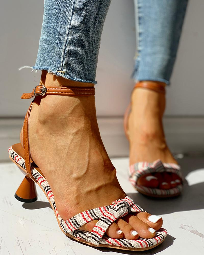 Striped Ankle Strap Casual Heeled Sandals