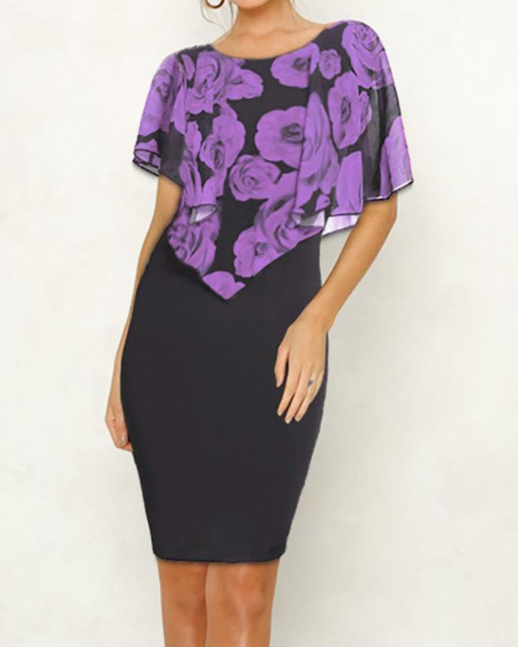 Floral Print Short Sleeve Bodycon Dress
