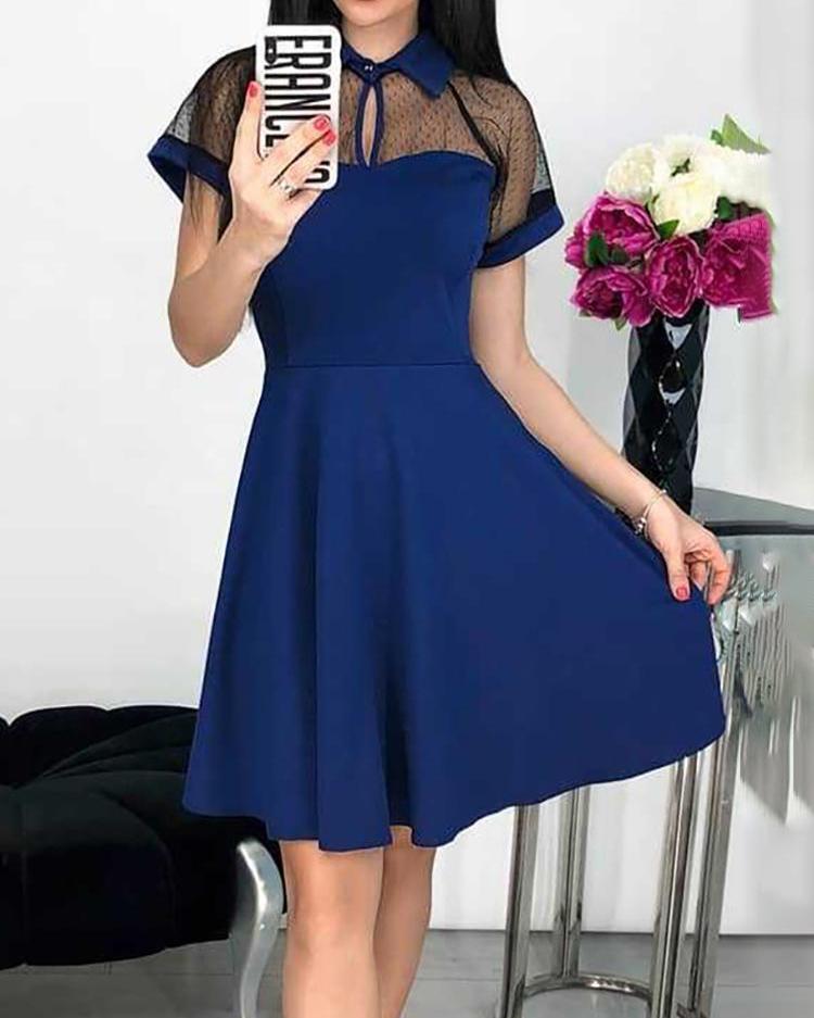 Mesh Yoke Short Sleeve Casual Dress фото