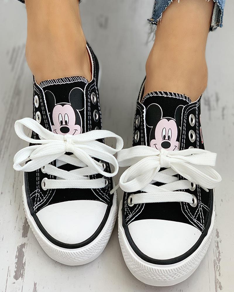 chicme / Zapatillas de deporte transpirables con cordones y ojales de patrón de dibujos animados