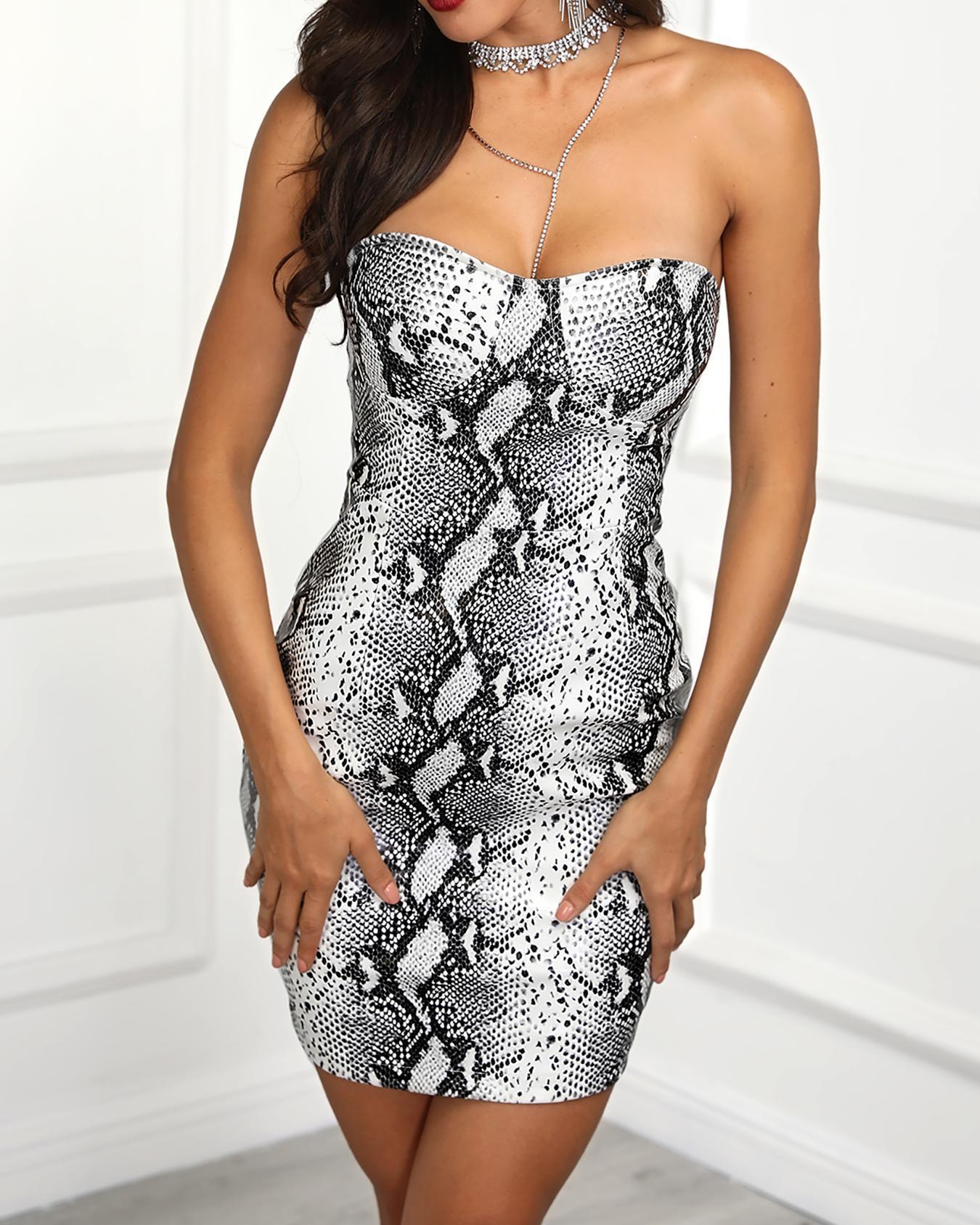 Snakeskin Print Tube Mini Dress фото
