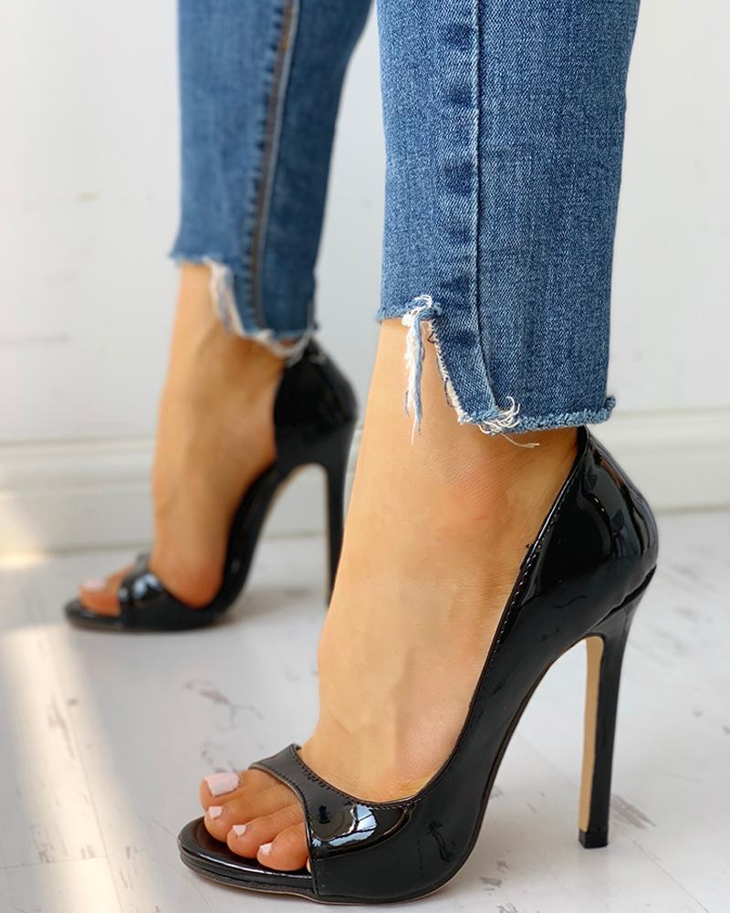 joyshoetique / Peep Toe Cutout Thin Heels