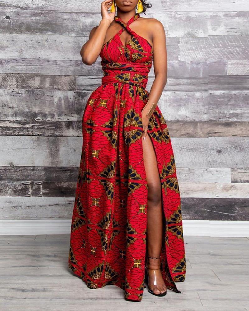 Print Crisscross Halter High Slit Maxi Dress фото