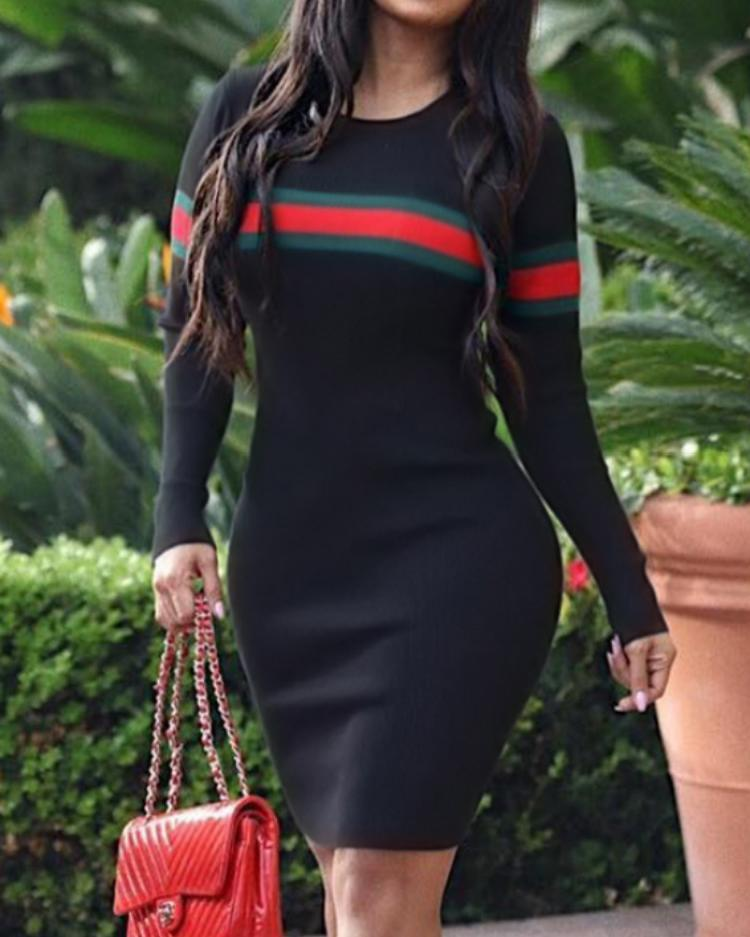 ivrose / Striped Tape Long Sleeve Bodycon Dress