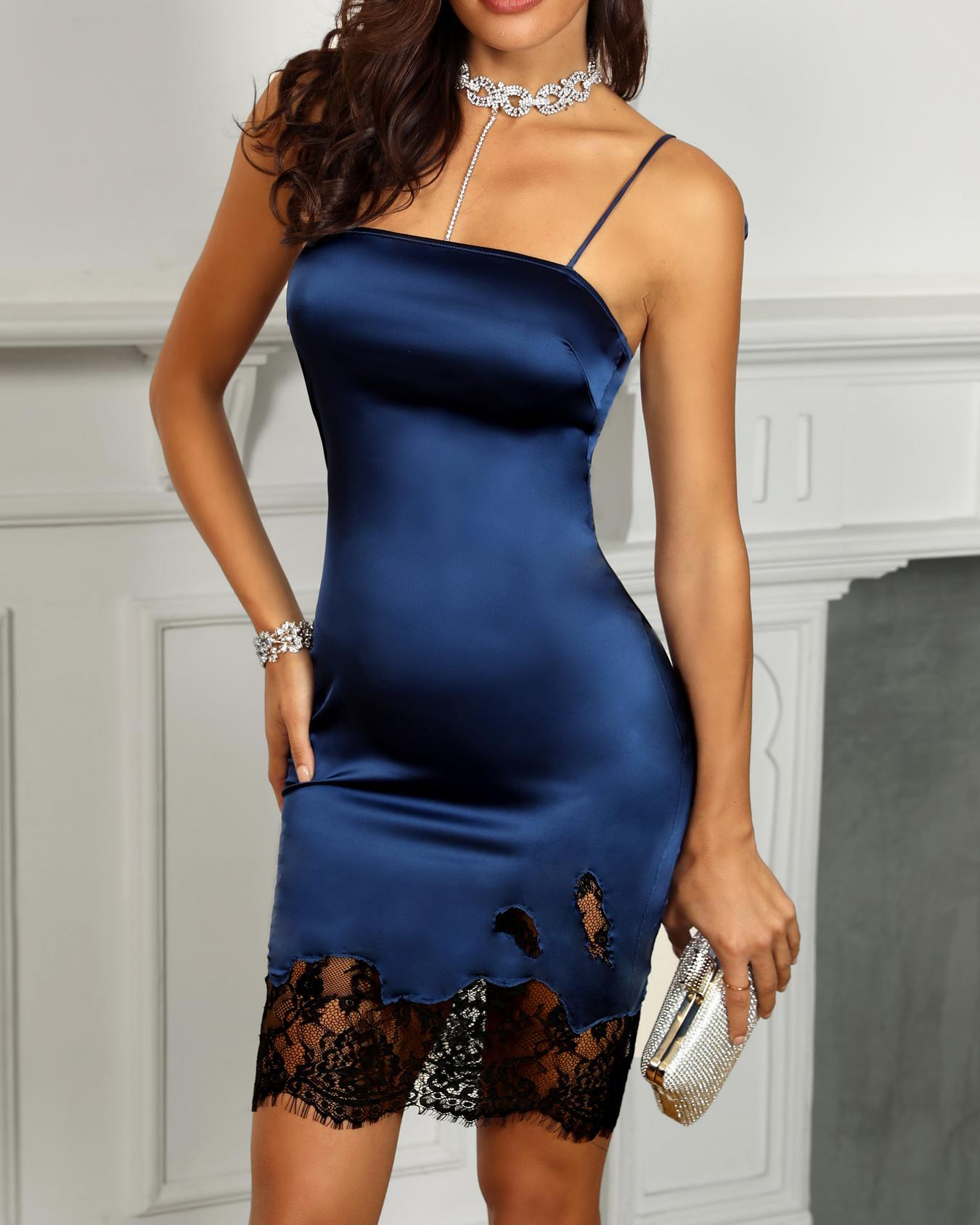 9099fc0d Spaghetti Stap Eyelash Lace Insert Dress, Blue - boutiquefeel.com ...
