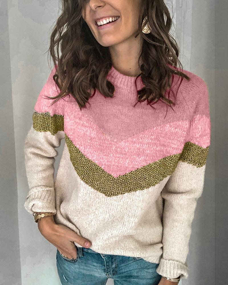 chicme / Casual Colorblock Round Neck Sweater