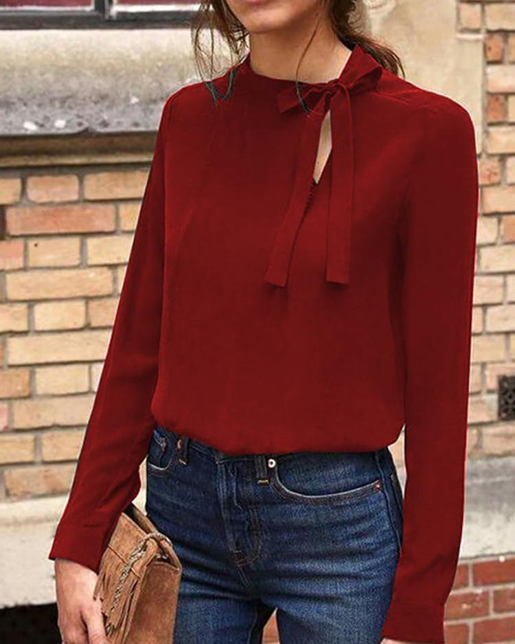 Cut Out Tie Neck Casual Top