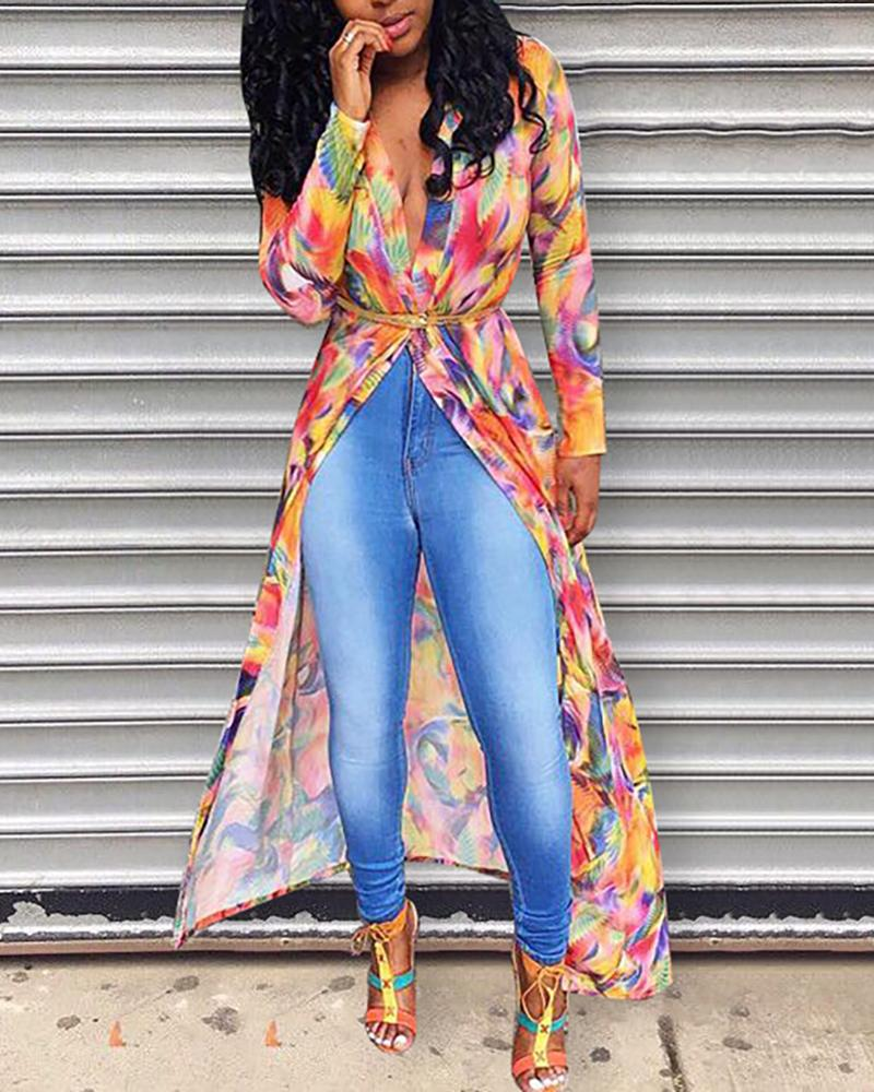 Long Sleeve Colorful Print Belted Coat