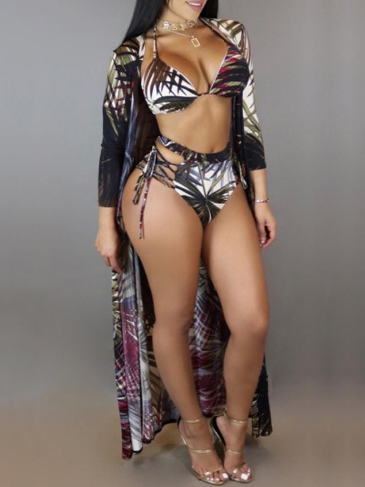 3PCs Leaf Print Strappy Bikini Swimwear With Cover Up