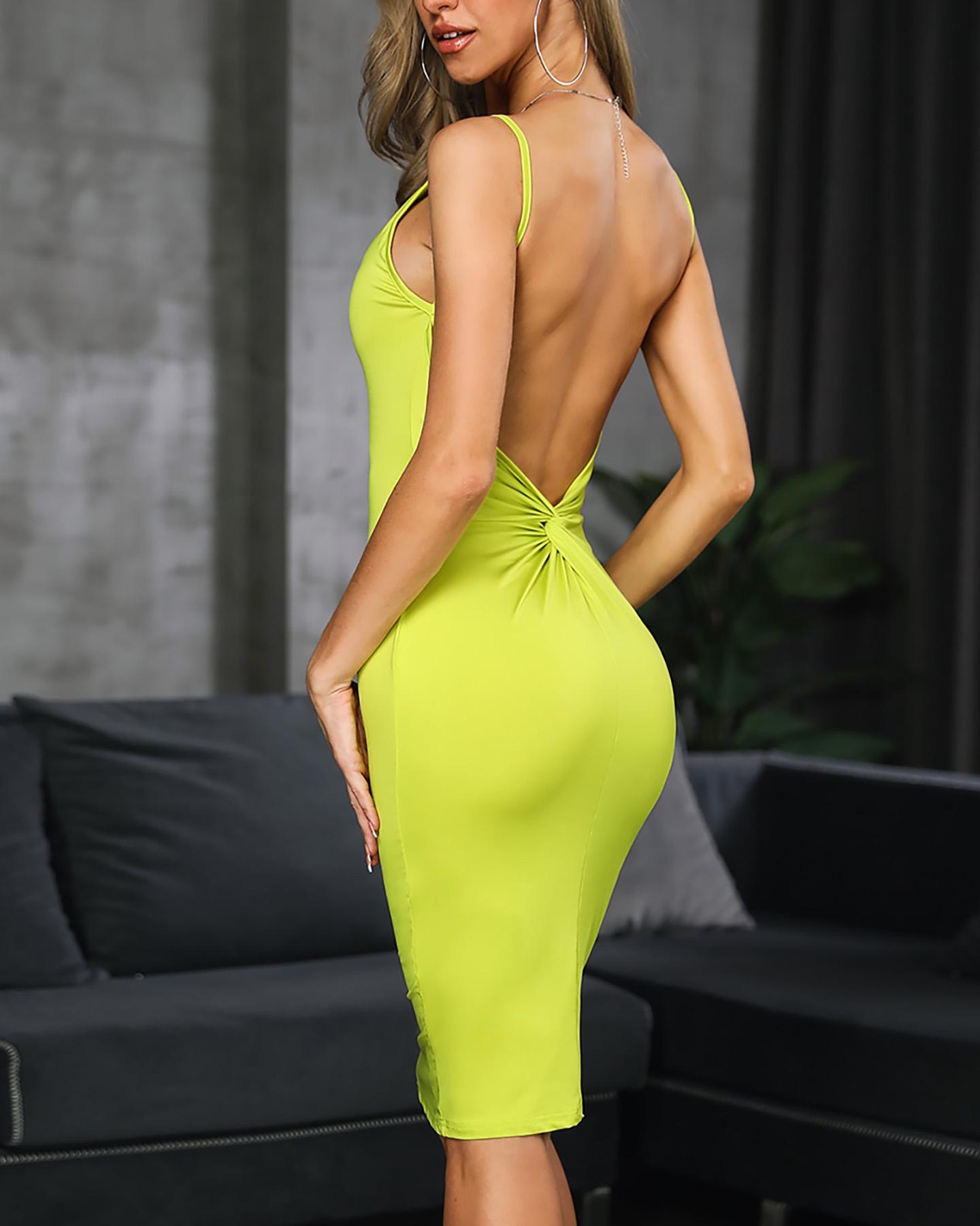Twist Open Back Fluorescence Color Sling Dress