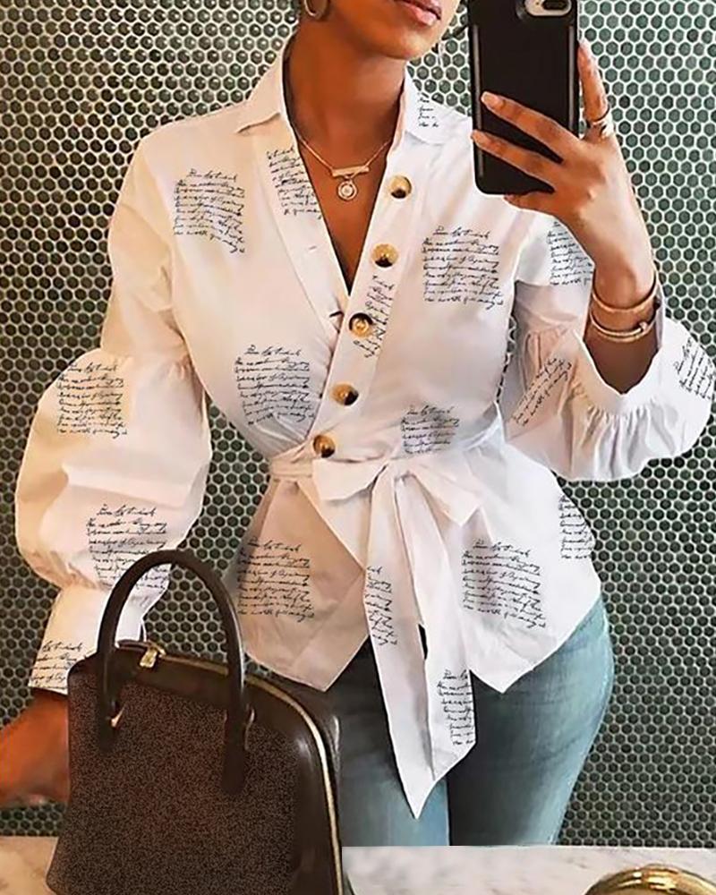 chicme / Lanterna manga abotoada blusa envoltório Surplice impresso