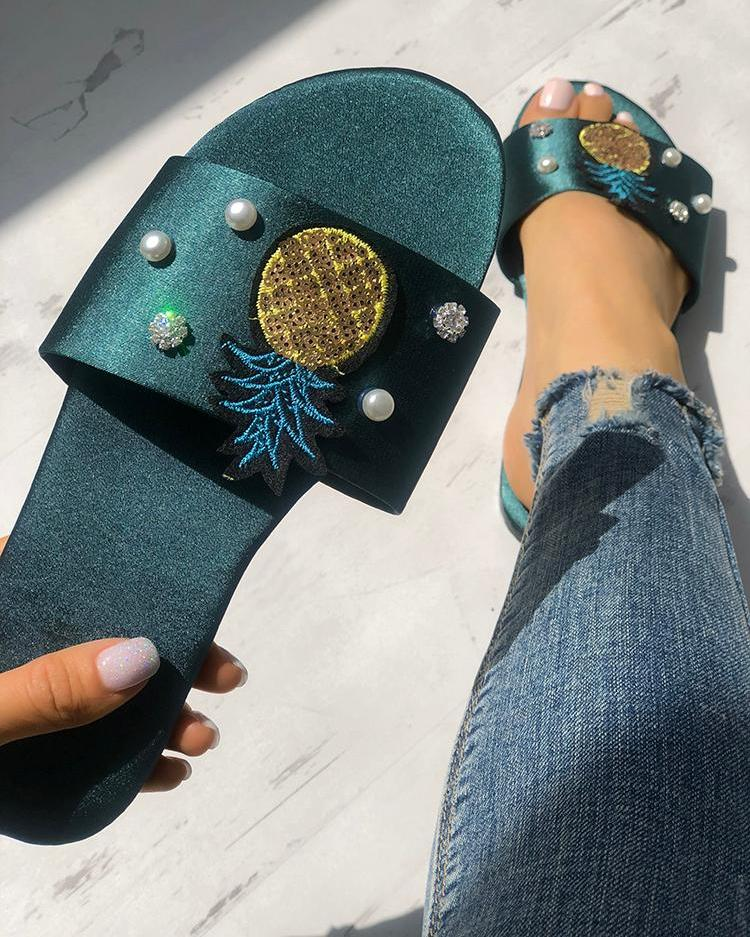 Pineapple Embellished Single Strap Sandals фото