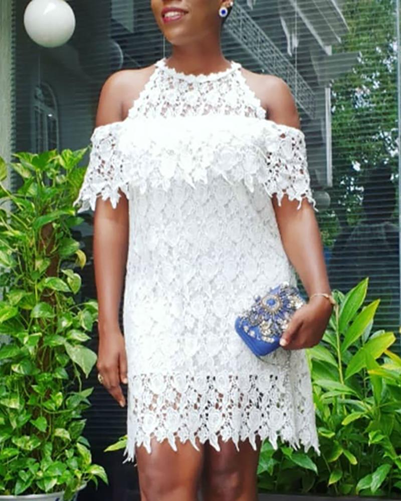 boutiquefeel / Mini vestido de encaje hueco de hombro frío