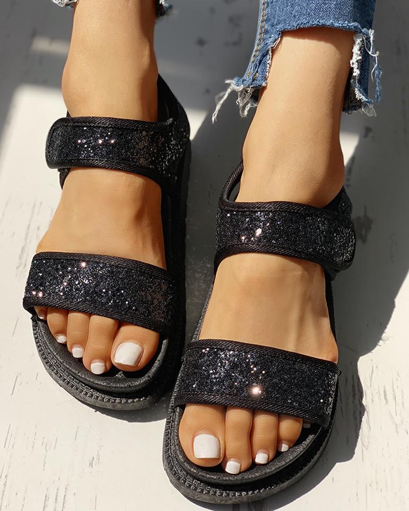 boutiquefeel / Lantejoulas Velcro Design Open Toe Flat Sandals