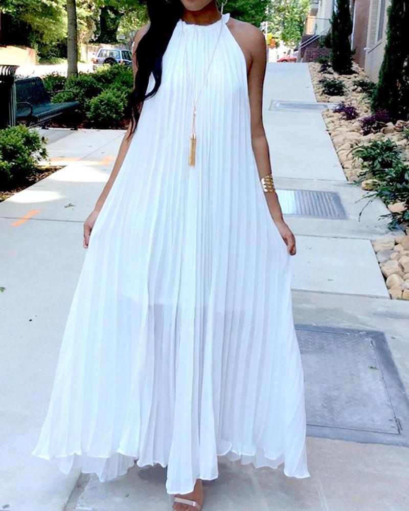 Hot Summer Halter Pleated Casual Maxi Dress фото
