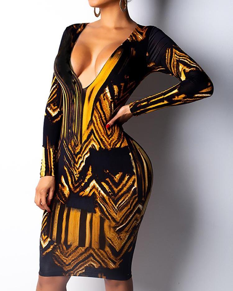Abstract Pattern Deep V-Neck Long Sleeve Dress фото