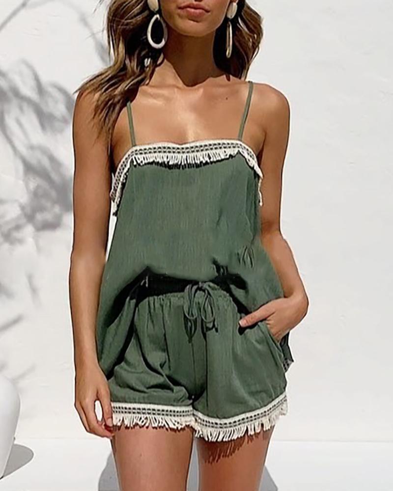boutiquefeel / Conjunto de top y pantalones cortos con diseño de borla con correa de espagueti