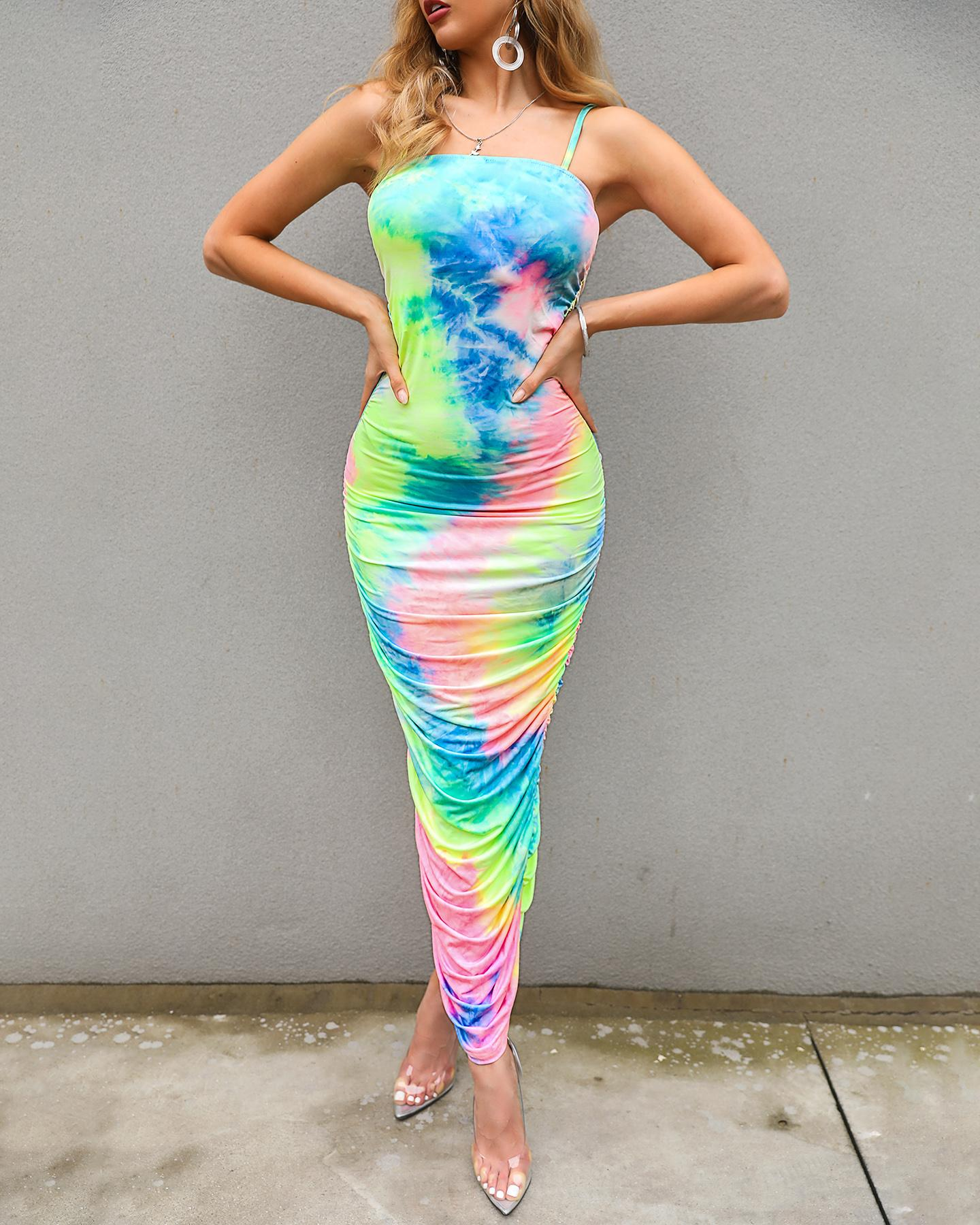 Tie Dye Print Ruched Bodycon Dress от ChicMe WW