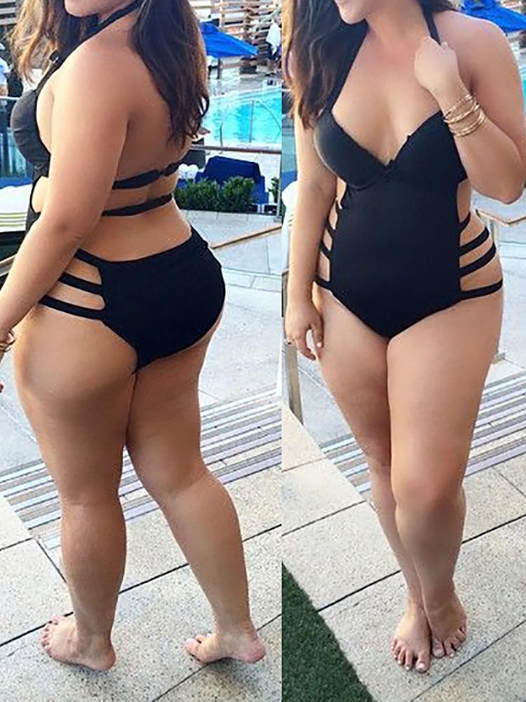 Women Sexy Plus Size High Waist Bandage Hollow Out Monokini Swimsuit фото