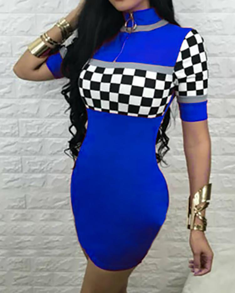 Checkboard Print Zipper Bodycon Dress, Blue