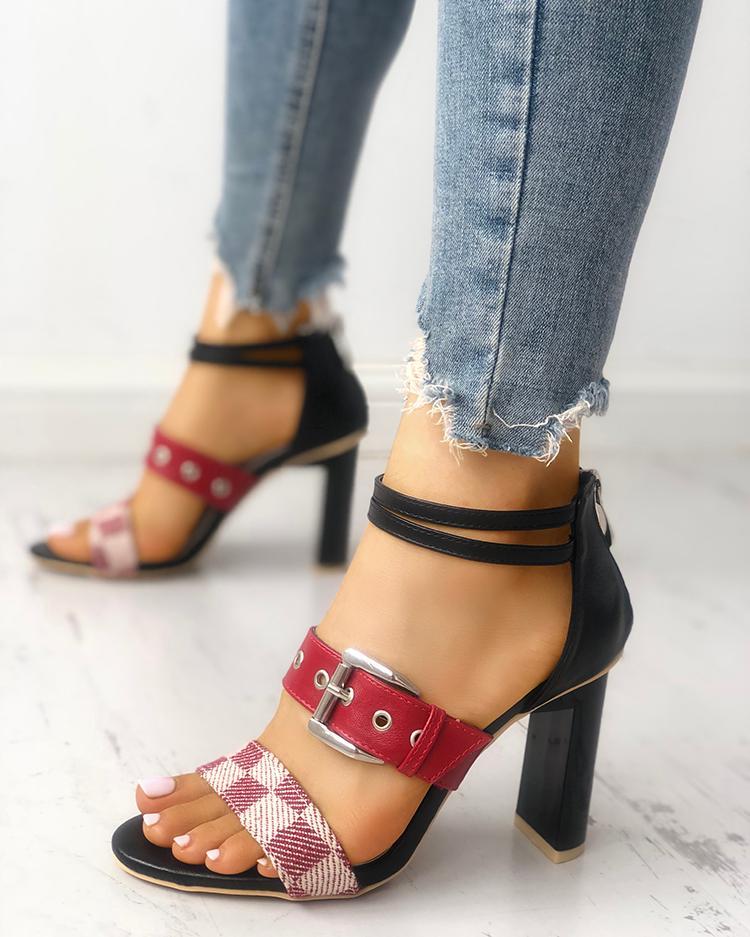 Купить со скидкой Grid Buckled Zipper Chunky Heeled Sandals
