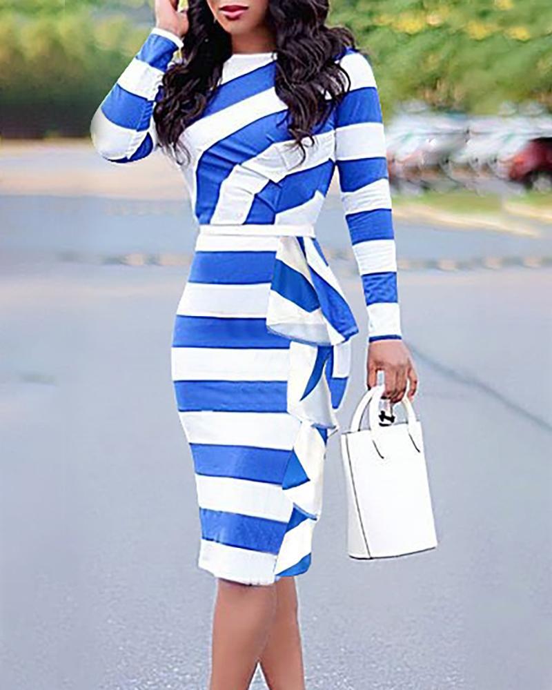 Colorblock Striped Ruffles Detail Bodycon Dress фото