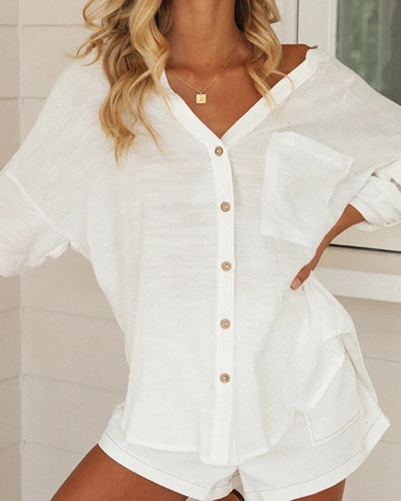 boutiquefeel / Camisa casual de manga larga con diseño de botones