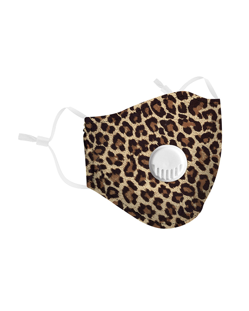 Leopard Print Breathing Washable Valve Face Mask (2 filters as gift) фото
