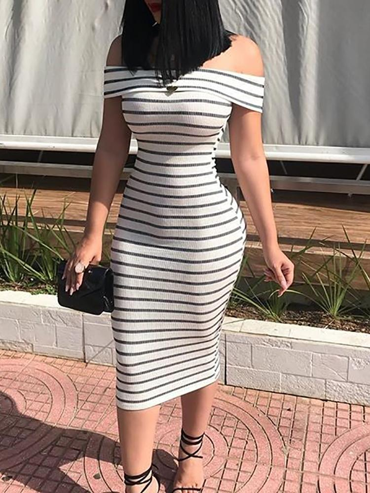 Striped Fold Over Off Shoulder Bodycon Dress