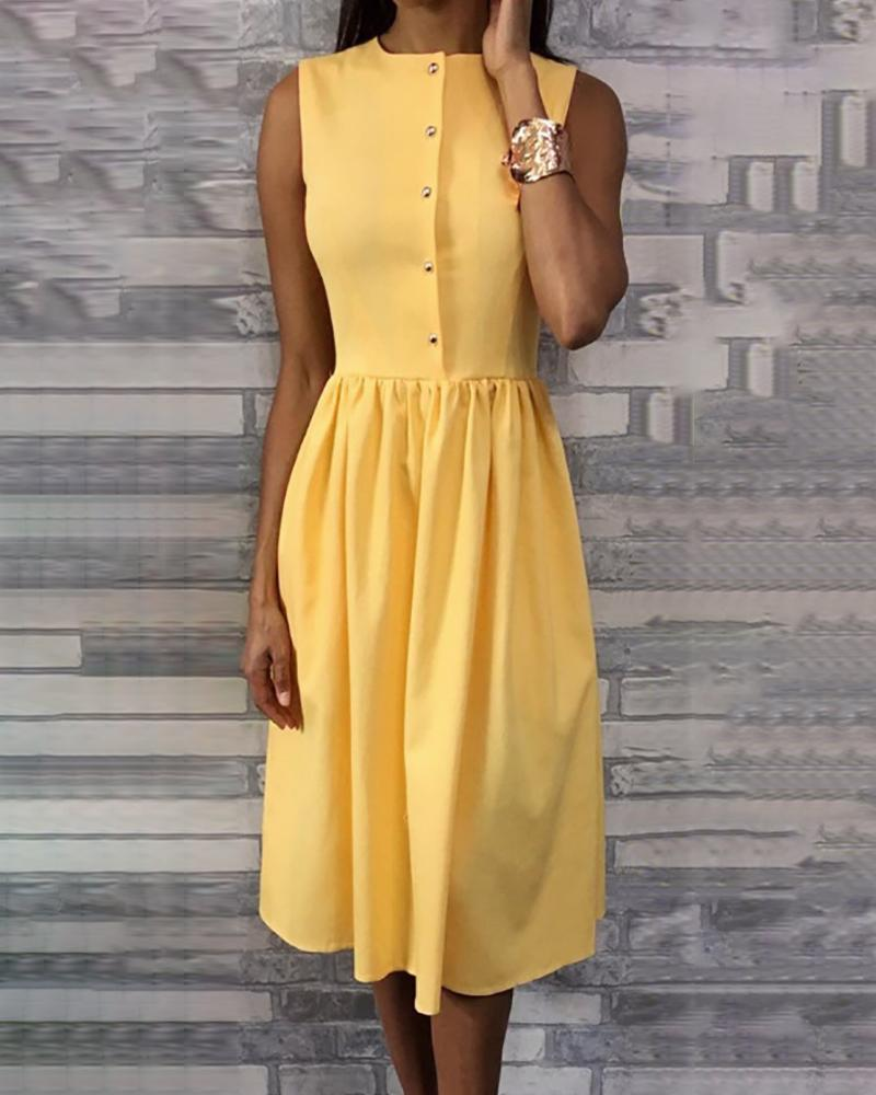 Sleeveless Buttoned Pleated Casual Dress фото